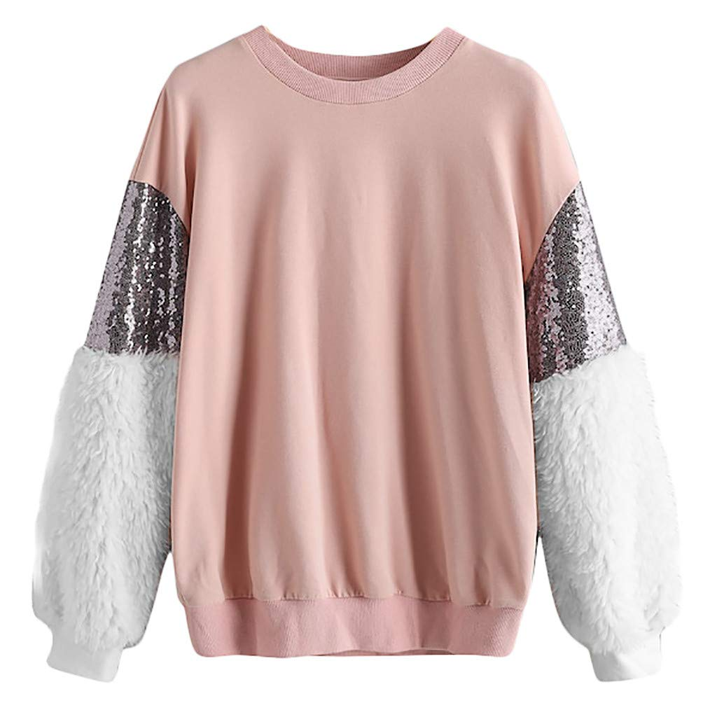Sweater for Womens, FORUU Fashion Long Sleeve Sequin Fluffy Sweatshirt O-Neck Pullover Top Blouse