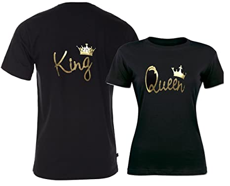 e8f54bd6530c ADYK Cotton Couple T-Shirts King & Queen (Pack of 2): Amazon.in ...