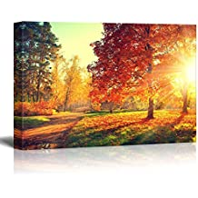 "wall26 Canvas Prints Wall Art - Autumn Scene. Fall. | Modern Wall Decor/Home Decoration Stretched Gallery Canvas Wrap Giclee Print. Ready to Hang - 16"" x 24"""