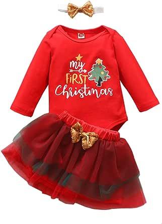 TROSJ My First Christmas Newborn Baby Girl Outfits Long Sleeve Top + Tutu Skirt + Headband + Leg Warmers Clothes Set
