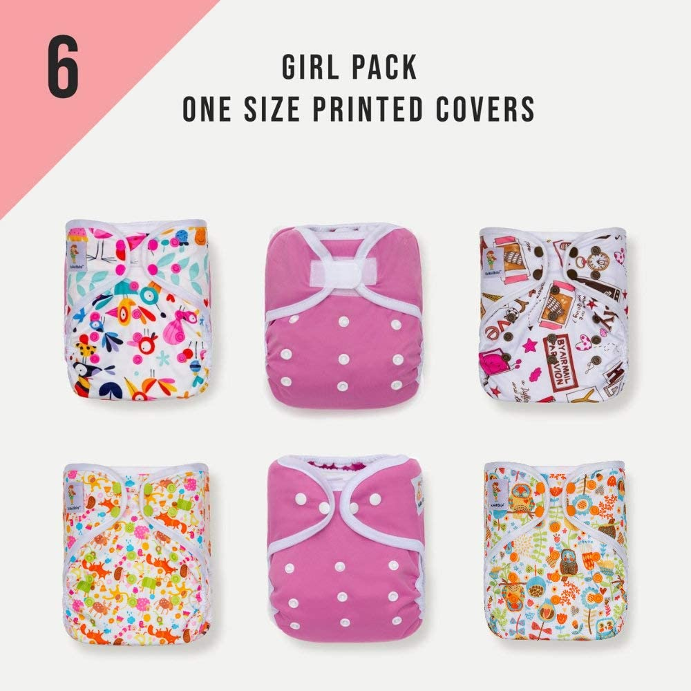 KaWaii Baby Happy Leak-Free One Size Diaper Cover Mostly Girl - Pack of 6.