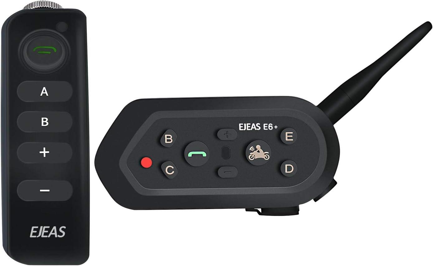 EJEAS® E6 Plus BT Motocicleta Casco Intercomunicador con Mando Separado Micrófono Auricular VOX 1200m 6 Pilotos