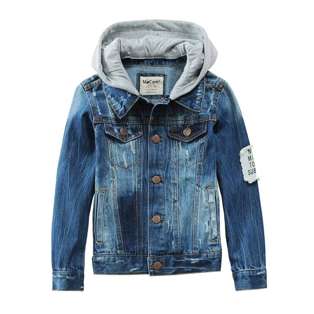SITENG Boys Kids Denim Fall Jean Jacket Coat with Hood Elastic Quality Outwear,Deep Blue,10