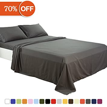 Exceptional Merous Microfiber Bed Sheets Set   100% Brushed 1800 Soft Hypoallergenic  Fitted Sheet 4 Piece