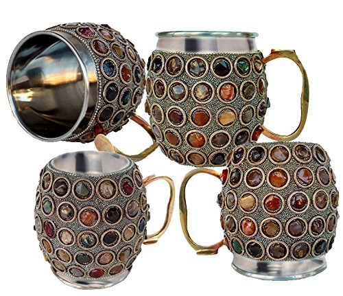 Rastogi Handicrafts Stainless Steel Beer , Vodka, Wine, Cocktail, Mocktail , Juice , Cold drink Mug -Cup (4) by Rastogi Handicrafts