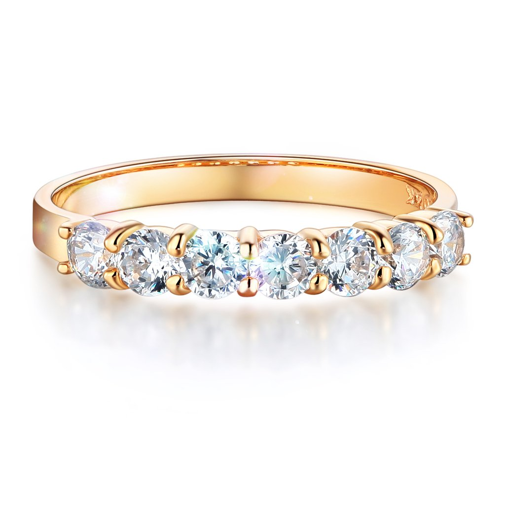 Wellingsale Ladies Solid 14k Yellow Gold Polished CZ Cubic Zirconia Round Cut Seven 7 Stone Anniversary Wedding Band - Size 9