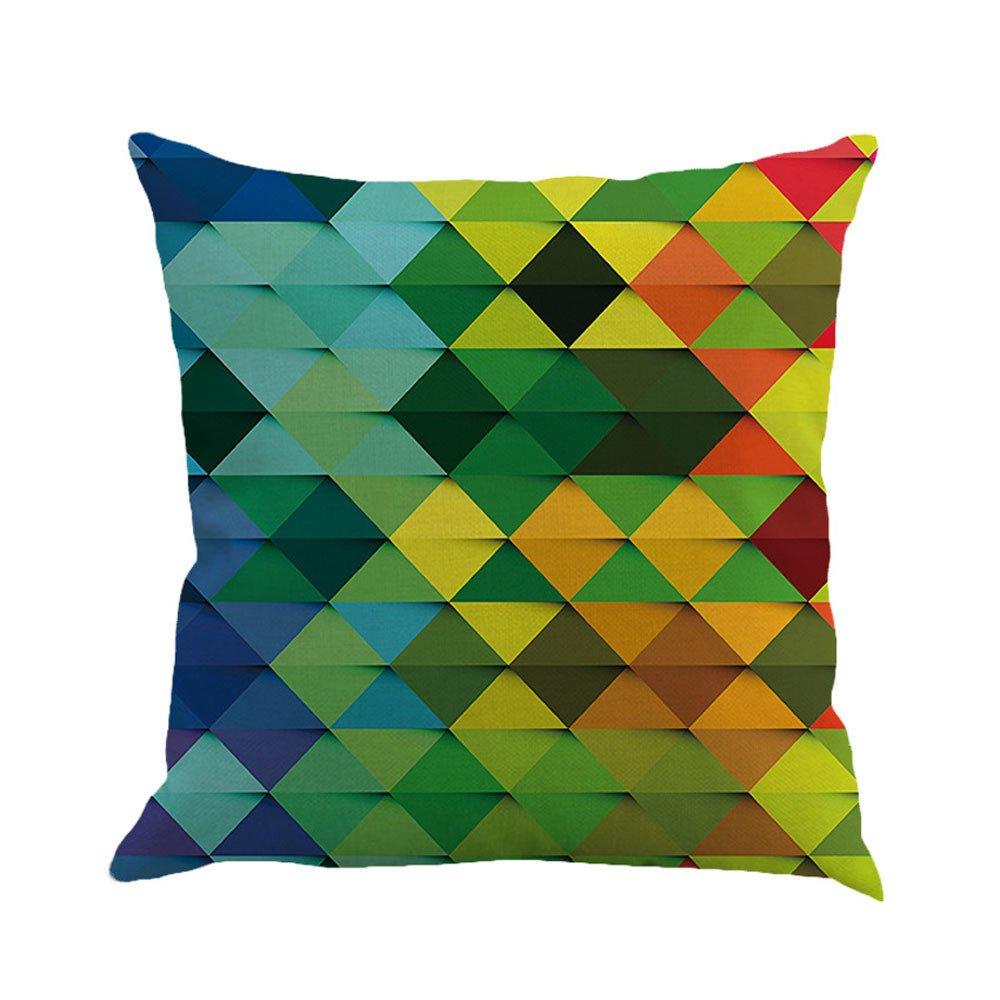 Pgojuni Geometry Painting Linen Square Pillow Cover Decorative Cushion Pillow Cushion Cover 1pc (C)