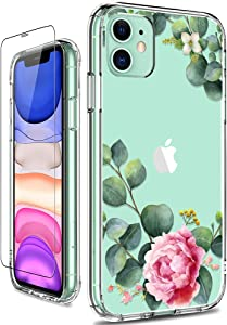 GiiKa iPhone 11 Case with Screen Protector, Clear Heavy Duty Protective Case Floral Girls Women Shockproof Hard PC Back Case with Slim TPU Bumper Cover Phone Case for iPhone 11, Camellia
