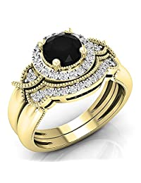 1.30 Carat (ctw) 10K Gold Round Black & White Diamond Millgrain Bridal Halo Engagement Ring Set