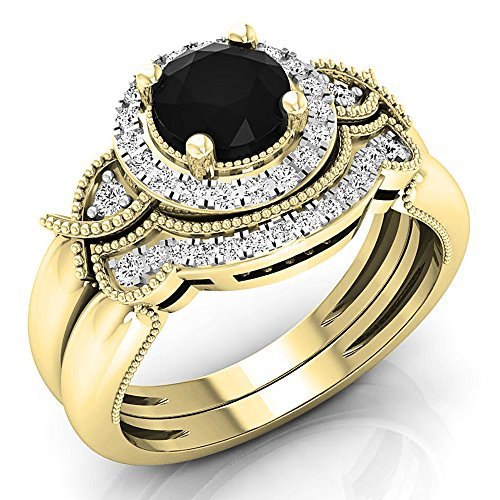 1.10 Carat (ctw) 10K Yellow Gold Black & White Diamond Bridal Engagement Ring Set 1 CT (Size 8)