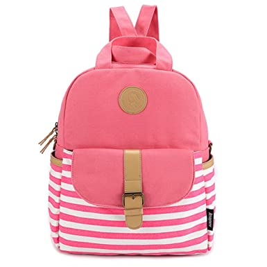 d8ca6253fa Saumota Lovely Stripe Pattern Backpack College Backpack Casual Daypack-Rose  red