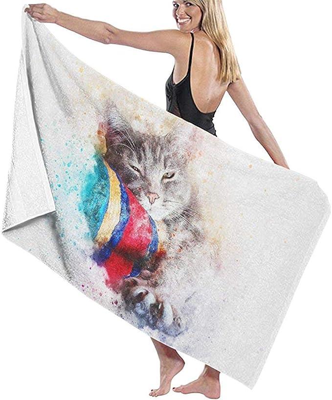 Toalla de Microfibra para Playa Gato para Dormir Animal Divertido Toalla de baño Toalla de Secado rápido para Viajes Piscina de natación Yoga Camping Gimnasio Deporte 160 X 80 Cm: Amazon.es: Hogar