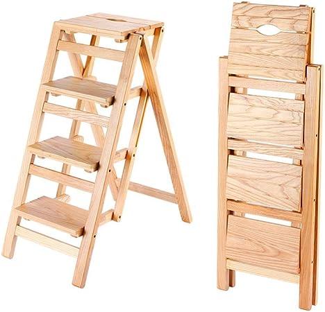 Escalera en Espiga Ascendente Plegable for el hogar 4 escalones pabellón de jardín Interior multifunción Liuyu. (Color : Wood): Amazon.es: Hogar