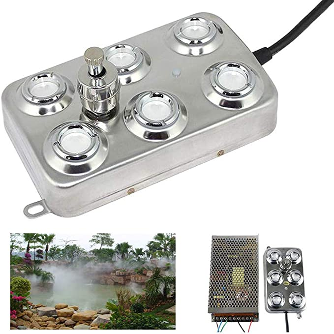 with CE 4YANG Mist Maker 12 Head Ultrasonic Mist Humidifier Fogger with Waterproof Power Supply 304 Stainless Steel Industrial Fogger machine for Gardening Pond Hydroponics Landscape