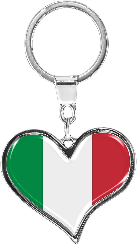 Metalum Premium Schlüsselanhänger Aus Metall Flagge Italien In Herz Form Tolles Geschenk Für Italien Fans Koffer Rucksäcke Taschen