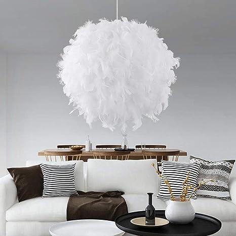 Lámpara de techo colgante de plumas, color blanco, romántica ...