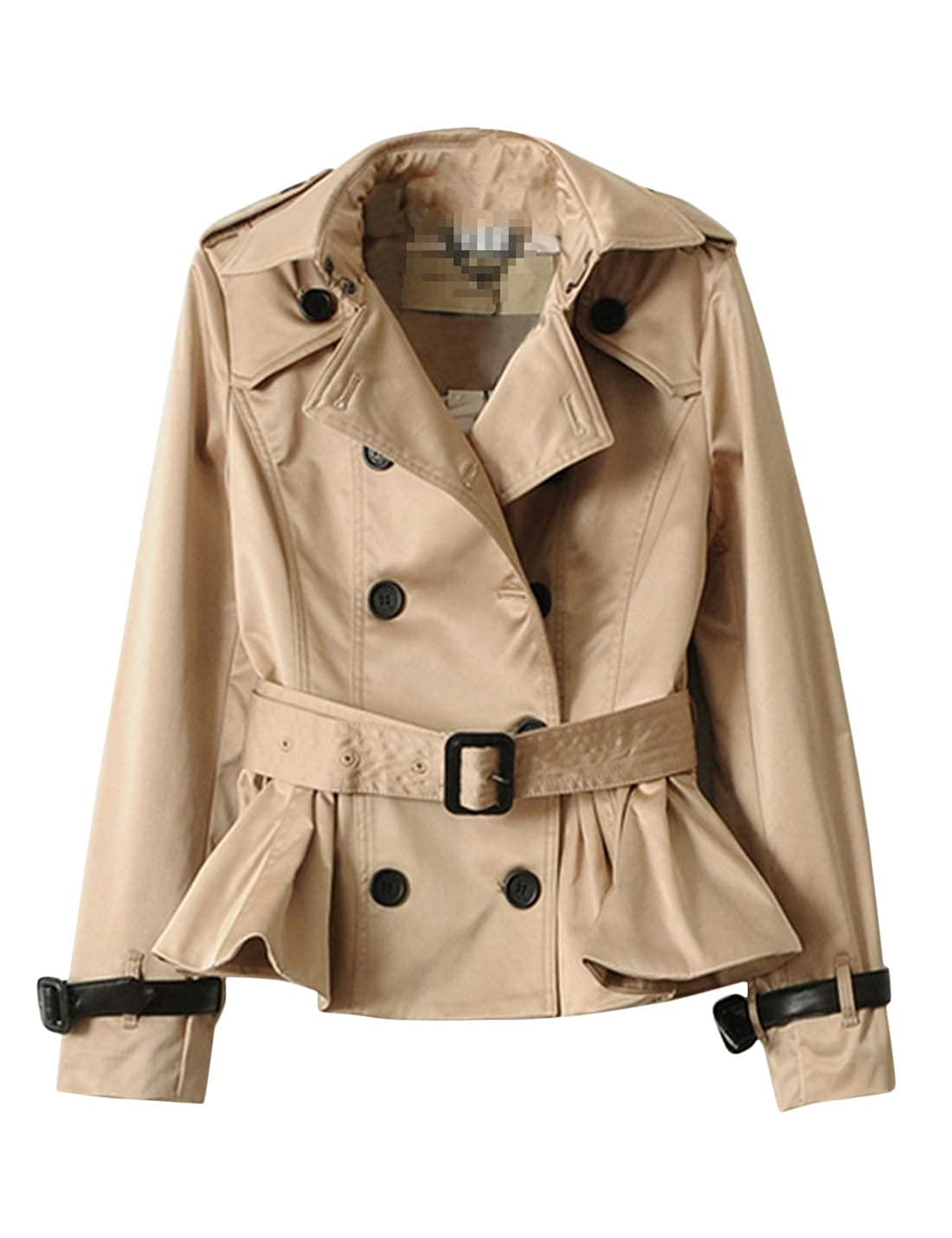 wide varieties discount shop hot-selling clearance Amazon.com: Uaneo Women's Double Breasted Short Trench Coat ...