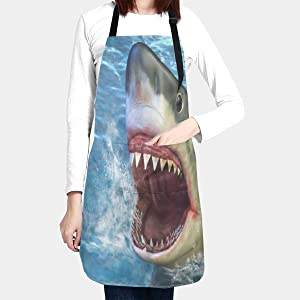 Waterproof Apron, Shark Jumping Out of Water Aprons with Two Pockets, Adjustable Neck Size Fit to Women or Men