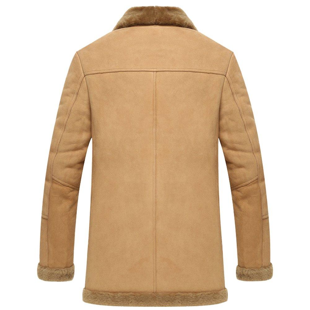 f533e222d948 Leather Jacket Men Shearling Coats Mens Fashion Slim Genuine Sheepskin  Outerwear at Amazon Men s Clothing store