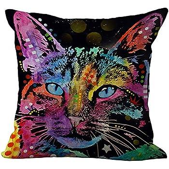 Amazon.com: ChezMax Rainbow Cat Cushion Cover Cotton Linen
