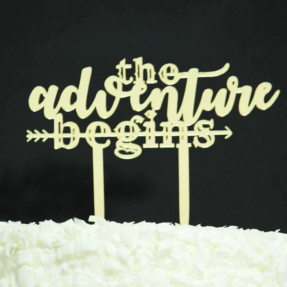 Betalala Gold The Adventure Begins Cake Topper Shower Birthday Wedding Party Decoration