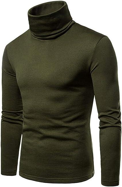 Manga Corta Camisa térmica de Cuello Alto para Hombre Casual ...