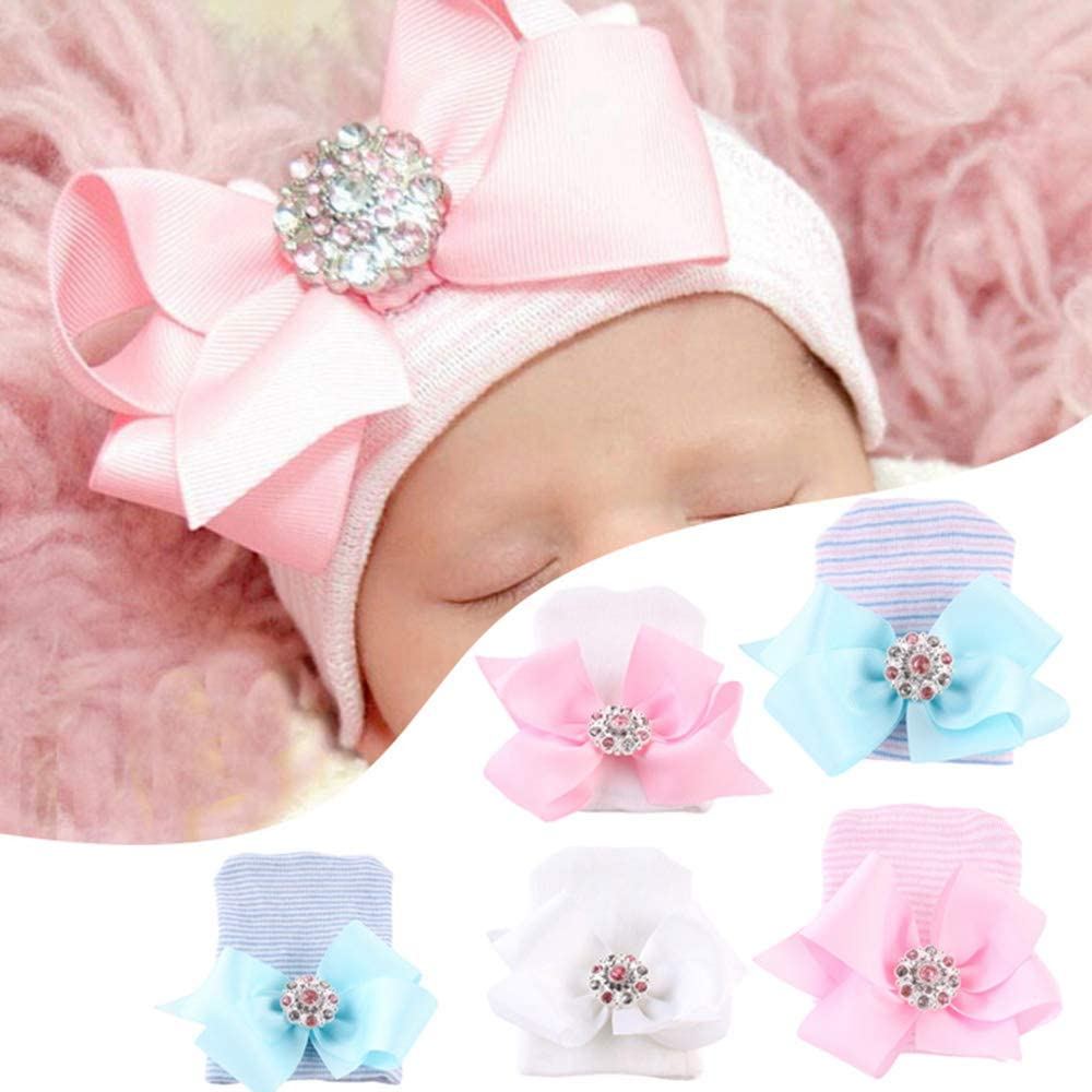 Blue Hunt Gold Big Bow Soft Infant Newborn Caps Cotton Hospital Hat Cute Gift for Baby 0-6 Months