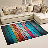 DEYYA Home Contemporary Retro Colored Weathered Wood Plank Area Rugs 325 x 5, Modern Non-Slip Doormats Carpet for Living Dining Room Bedroom Hallway Office Easy Clean Footcloth