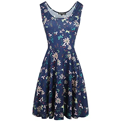 Women Vintage Dress Rockabilly Floral Swing Sleeveless Casual Dresses Elegant Tunic Vestidos Robe Blue flower S
