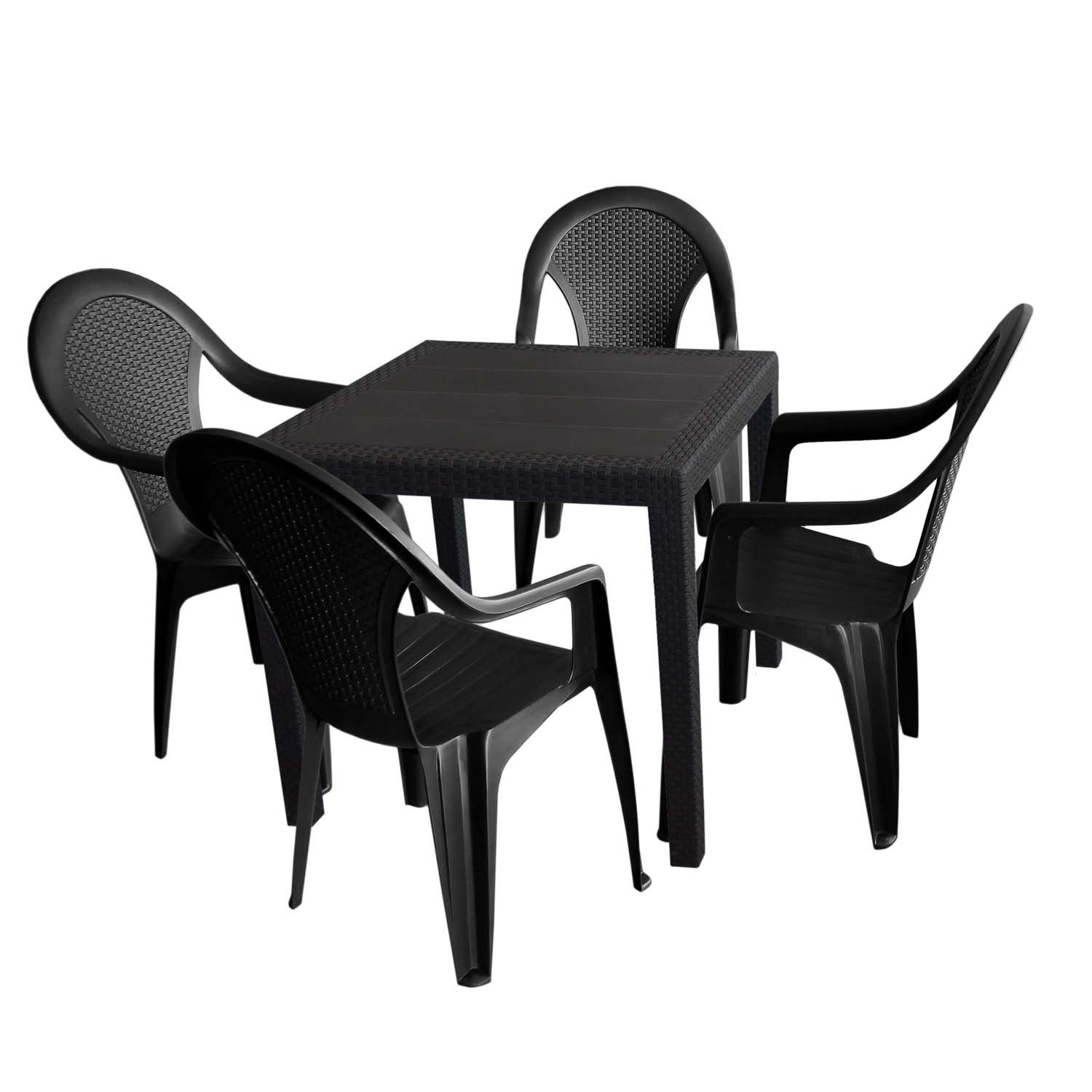 5tlg gartengarnitur kunststoff gartentisch 79x79cm rattan. Black Bedroom Furniture Sets. Home Design Ideas