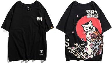 Hip Hop Camiseta de Manga Corta para Hombre, Estilo japonés A346002 Black X-Large: Amazon.es: Ropa y accesorios