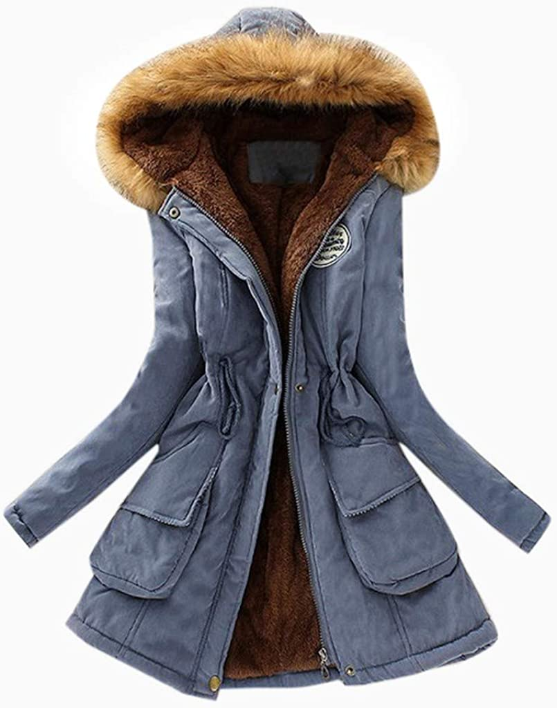 hymyyxgs Womens Winter Warm Long Coat Fur Collar Hooded Jacket Slim Parka Outwear Coats