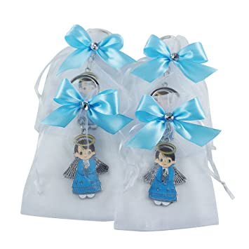 Amazon.com: Bautismo Favor metal Key Chain para Boy – Ángel ...