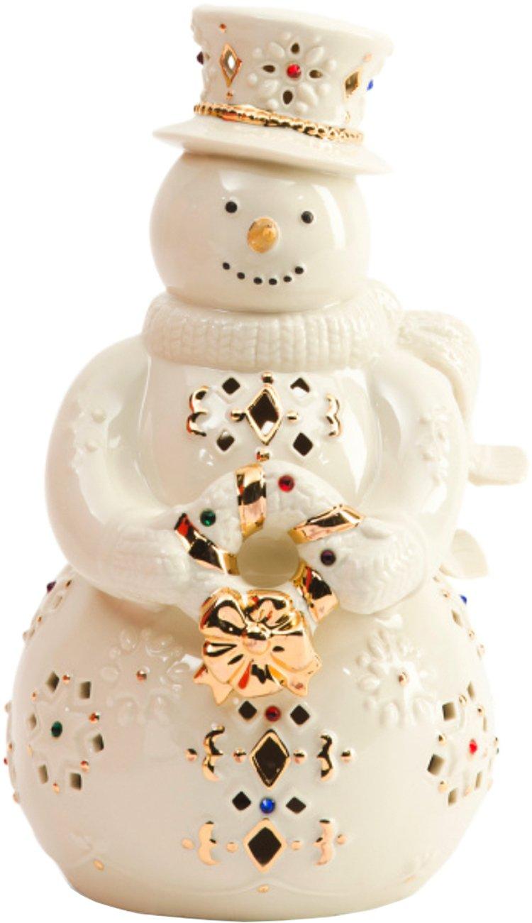 Lenox Holiday Gems Lighted Snowman Figurine