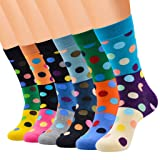 Womens Cotton Socks Dot Print Crew Socks Colorful