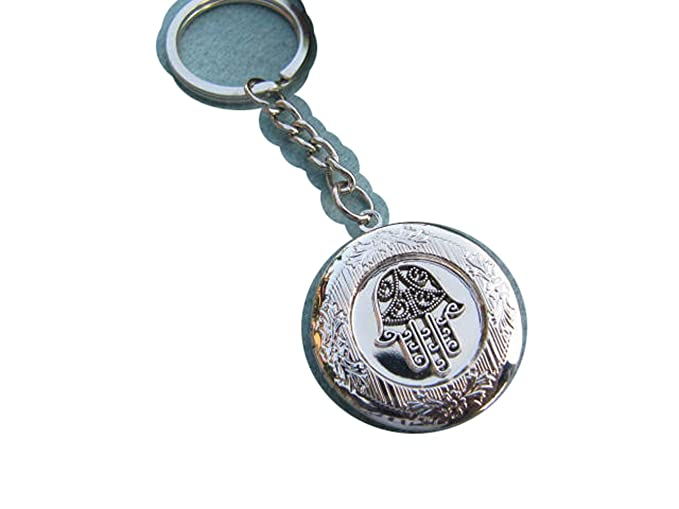 Hamsa Locket llavero, medallon de plata antigua, mano de ...