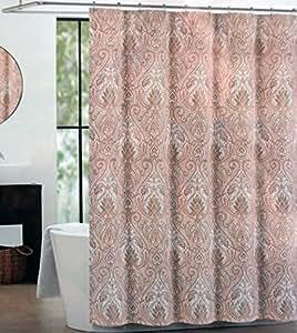 Amazon Com Tahari Fabric Shower Curtain Orange And Beige