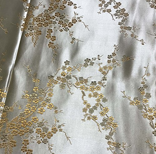 Gold Cherry Blossom Floral - Faux Silk Brocade Fabric