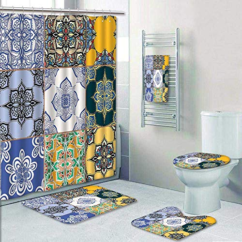 AmaPark 5 Piece Bath Rug Set,Multi Set of Islamic and Portuguese Tile Patterns in Various Tones and Textures Print Bathroom Rugs Shower Curtain/Rings and Both Towels by AmaPark