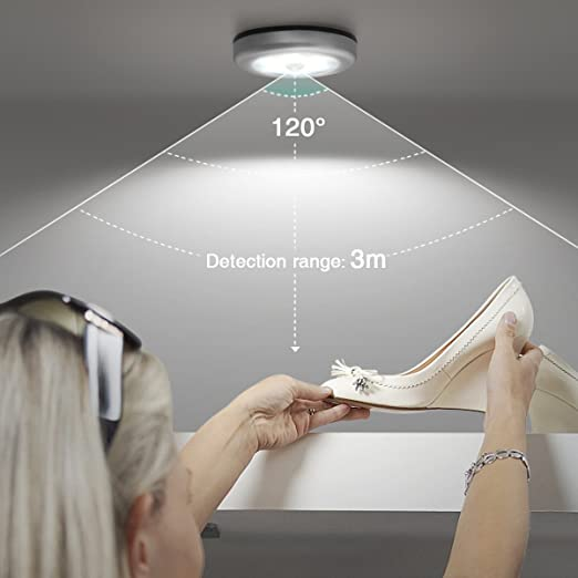 Oria Luz de Noche con Sensor de Movimiento, Luces Nocturnas 6 LED de Pilas con Almohadillas Adhesivas y Imán Integrado, Auto En/Apagado, para Cuarto, Pasillo, Escalera, Cocina -3 Unidades/Blanco: Amazon.es: Bricolaje y