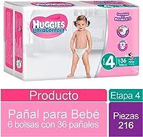Huggies Ultraconfort, Niña, Etapa 4, 216 Pañales