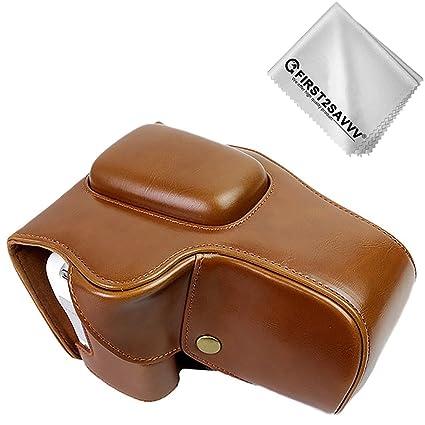 First2savvv marrón Calidad premium Funda Cámara cuero de la PU ...