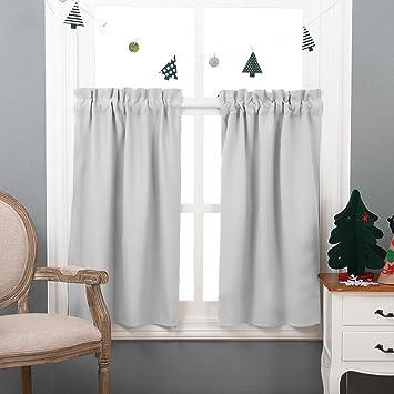 NICETOWN Half Window Room Darkening Curtains  Rod Pocket Tailored Tier  /Valance /Cafe Curtains