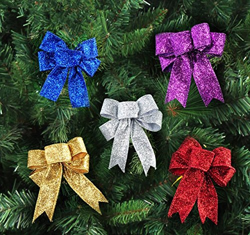 Astra Gourmet Pack of 10 Gold Edge Outdoor Wire Edge Glitter Christmas Bows, 9.8''x7.8'' by