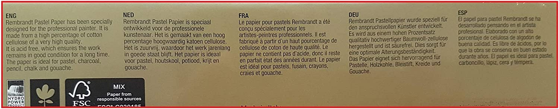 Espacebeauxarts 6 colores 30 hojas 160 g 21 x 29,7 cm colores claros secos en colores pastel Francia Import Papel en colores pastel REMBRANDT