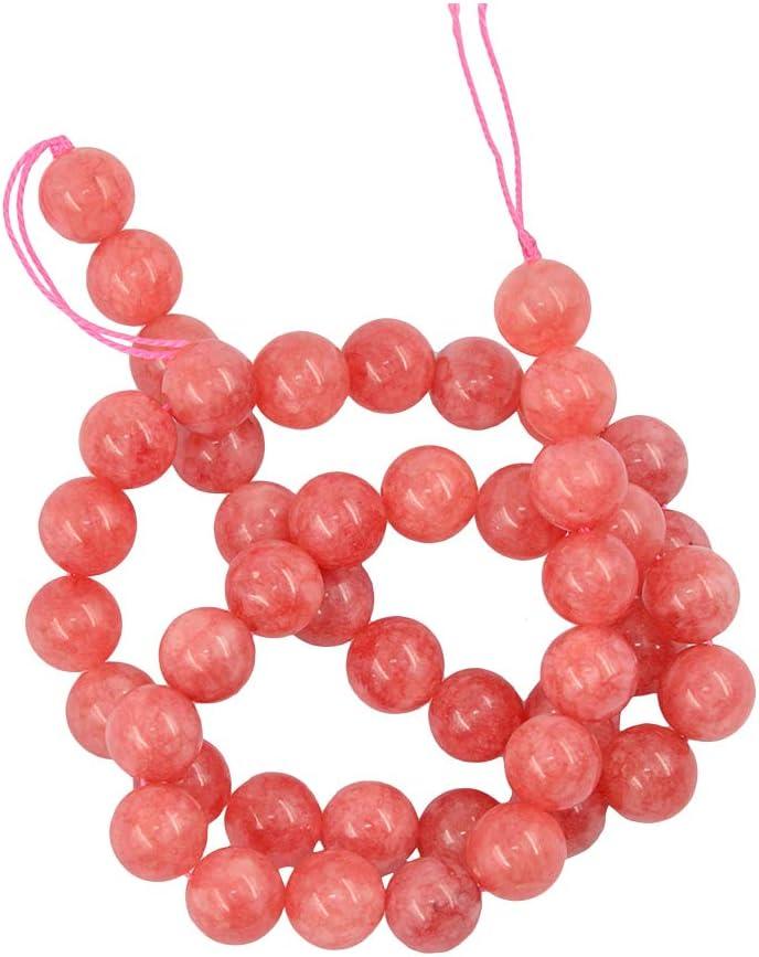 Sharplace Piedras Preciosas Rosadas Naturales De Jade Cuentas Redondas Sueltas Espaciador Encanto Piedras Preciosas 15 Pulgadas - Rosado, 8 mm