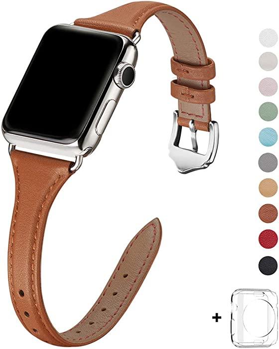 WFEAGL Leather Bands Compatible with Apple Watch 38mm 40mm 42mm 44mm, Top Grain Leather Band Slim & Thin Replacement Wristband for iWatch SE & Series 6/5/4/3/2/1 (Brown/Silver, 38mm 40mm )