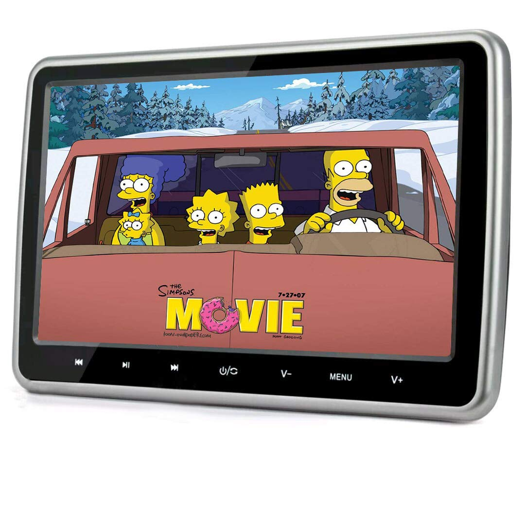 VK-SYTECH 10.1 Inch Car Headrest DVD Player with USB Port Sd Slot, with Hdmi and Wireless Games and Ac Adatper for Car and Home Both Using