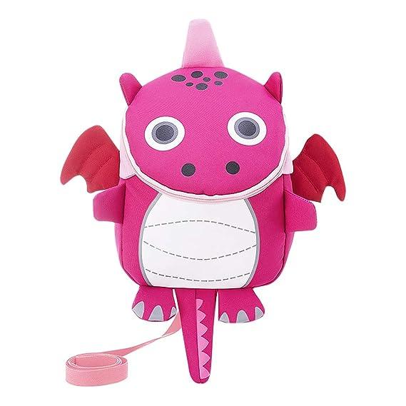Greenery-GRE Cute Dinosaur Backpack for Toddler Kids Baby Safety Harness Walking Bag Zippered Soft Padded Nursery Kindergarten Pre-School Bag with Reins Belt Snack Toy Rucksack Satchel Carrier