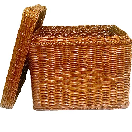 File Box - Wicker w/ file rods & lid - Letter size (Natural) (13